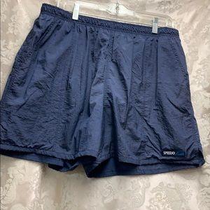 Speedo XL Swim Short Navy Lined with Pockets GUC